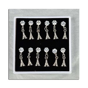 Box of 6p Ears Earrings Cubic Zirconia L15mm 75613