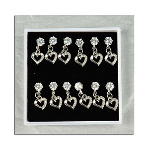 Box of 6p Ears Earrings Cubic Zirconia L15mm 75617