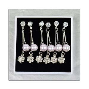 Box of 3p Earring Drop Earrings Cubic Zirconia L45mm 75630