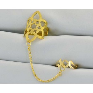 12 Double Rings Adjustable gold metal Phalanges 60973