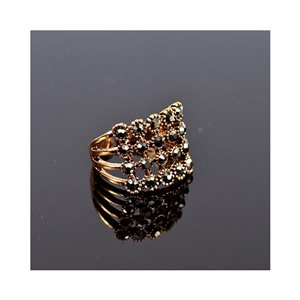 New Collection Adjustable Metal Ring Set with Rose Gold Color Rhinestones 75640