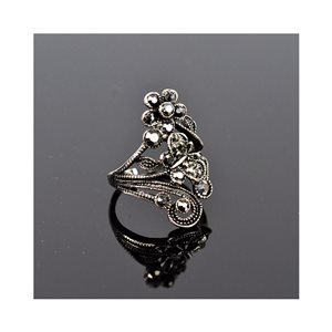 New Collection Adjustable Metal Ring Set with Rhinestone Color Anthracite 75649