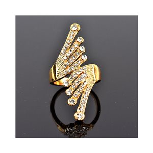 New Collection Adjustable metal ring set with golden colored rhinestone 75663