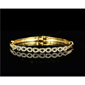 Gold colored metal bracelet Chic Collection set with Rhinestones D55mm L18cm clip clasp 75520