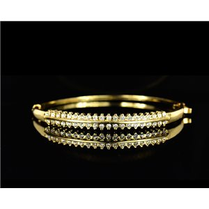 Gold colored metal bracelet Chic Collection set with Rhinestones D55mm L18cm clip clasp 75522