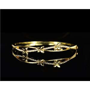 Gold colored metal bracelet Chic Collection set with Rhinestones D55mm L18cm clip clasp 75534