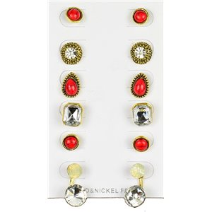 Set of 6p Stud Earrings Ear Studs in Gold Color Blister 75684