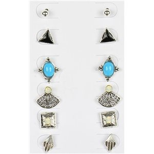Set of 6p Stud Earrings Ear Studs Metal Silver Color Blister 75685