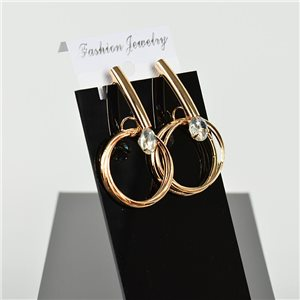 1p Earring Drop Earrings 5cm Metal Gold Color New Graphika Style 75755