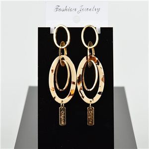 1p Earring Drop Earrings 8cm Metal Gold Color New Graphika Style 75714