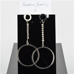 1p Earring Drop Earrings 9cm Metal Silver Color New Graphika Style 75689