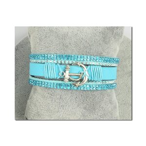 Bracelet Manchette Strass multirang L19cm Collection Ancre de Marine fermoir aimanté 25mm 75399