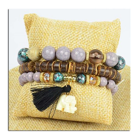 Bracelet CYBELE Cuff 3 Ranks Collection Bead Charms and Jewelry on Elastic Wire New Collection 75778