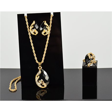 Jewels adornment Rhinestones Pendant on gold chain L43-49cm 1p Earrings 1 Adjustable ring 75798