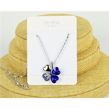 Crystal 4 Hearts pendant on silver metal chain L41-46cm 75803