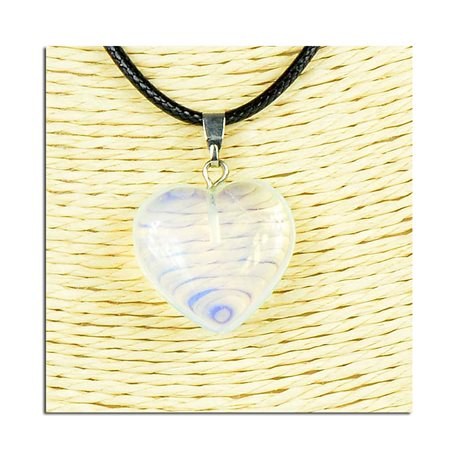 Necklace Heart Pendant 20mm stone on waxed cord L49cm 75811