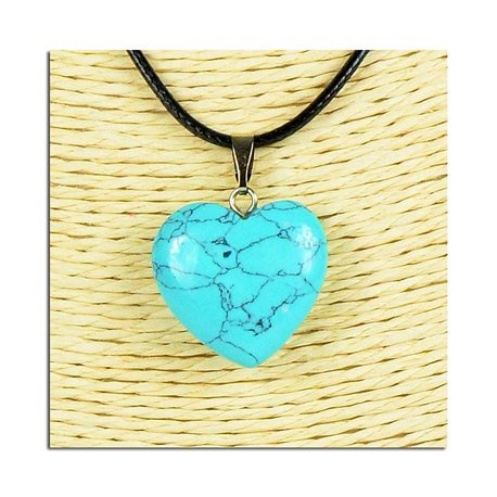 Heart pendant necklace 20mm stone on waxed cord L49cm 75815