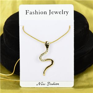 Collier Pendentif Strass IRIS Gold Color Chaine maille serpent L40-45cm 75860