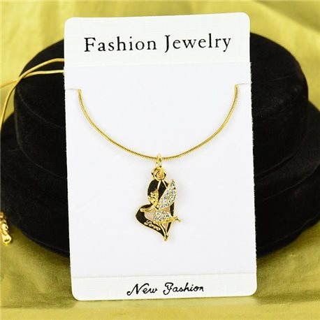Necklace Rhinestone Pendant IRIS Gold Color Chain snake mesh L40-45cm 75900