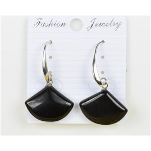 1p Earrings 20mm Natural Stone Obsidian on Silver Metal 75959