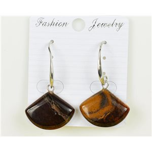 1p earrings 20mm natural stone Tiger eye on metal Silver 75962