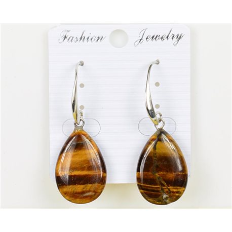 1p earrings 25mm natural stone Tiger eye on metal Silver 75968