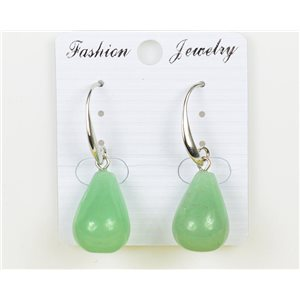 1p Earrings 20mm Natural Stone Aventurine on Silver Metal 75976