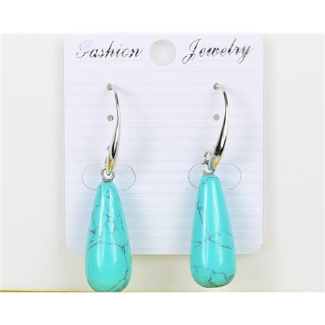1p Earrings 25mm Natural Stone Turquoise on Silver Metal 75980