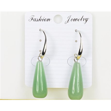 1p Earrings 25mm Natural Stone Aventurine on Silver Metal 75982
