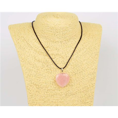 Pendant Necklace 25mm Natural Stone Rose Quartz on waxed cord L43-47cm 75913
