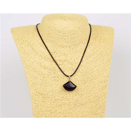 Pendant necklace 20mm natural stone Obsidian on waxed cord L43-47cm 75923