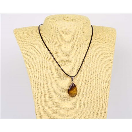 Necklace pendant 25mm natural stone Tiger's eye on waxed cord L43-47cm 75932