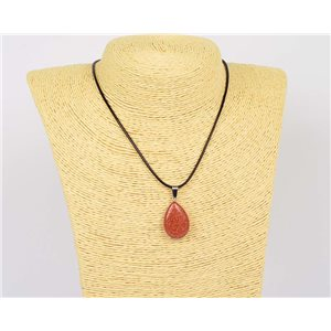 Necklace pendant 25mm Sandstone natural stone on waxed cord L43-47cm 75933