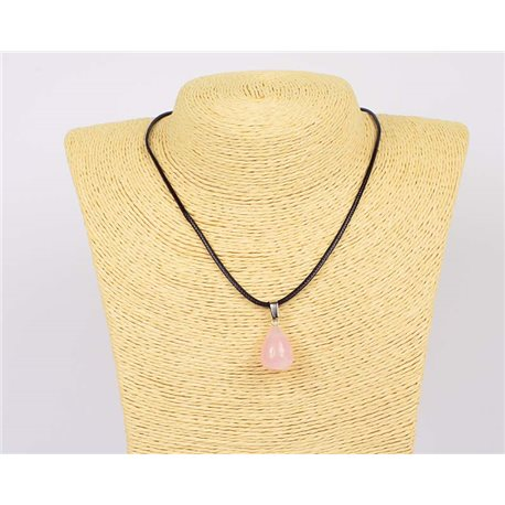 Pendant necklace 20mm Natural Stone Rose Quartz on waxed cord L43-47cm 75936