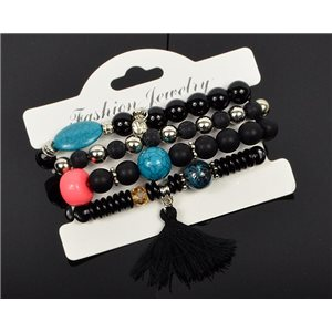 Bracelet CYBELE Cuff 4 Ranks Collection Bead Charms and Jewelry on Elastic Wire New Collection 75983