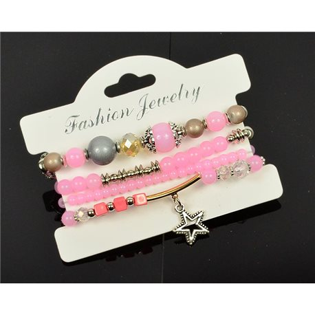 Bracelet CYBELE Cuff 4 Ranks Collection Bead Charms and Jewelry on Elastic Wire New Collection 75990