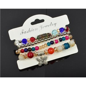 Bracelet CYBELE Cuff 4 Ranks Collection Bead Charms and Jewelry on Elastic Wire New Collection 75991