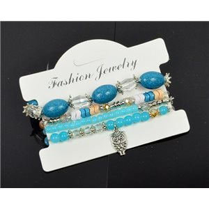 Bracelet CYBELE Manchette 4 rangs Collection Bead Charms et Bijoux sur fil élastic New Collection 75994