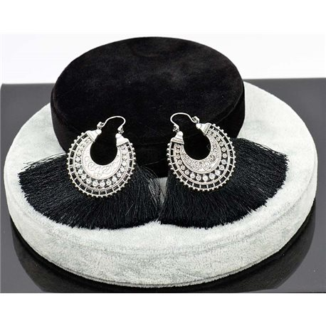 1p Earring New Trends Pompon on metal Silver chiseled 76047