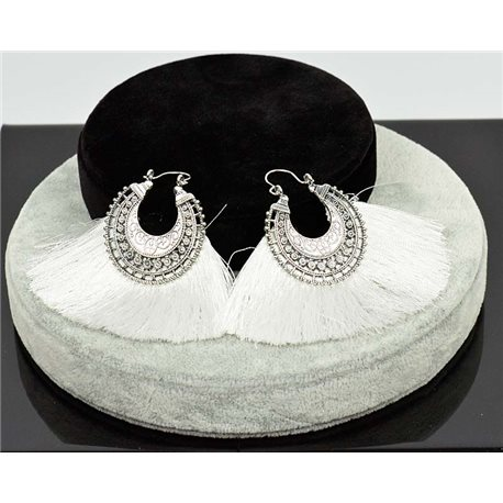 1p Earring New Trends Pompon on metal Silver chiselled 76048