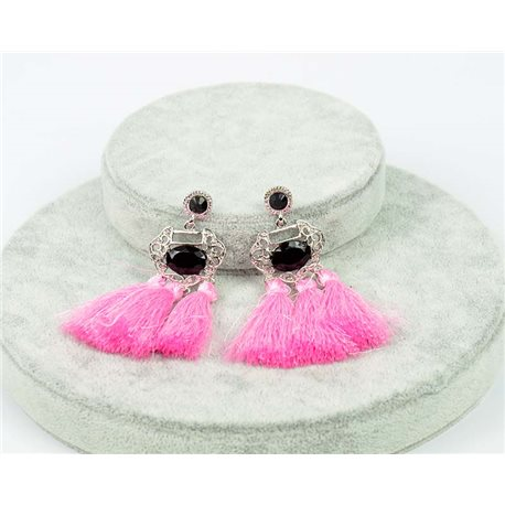 1p Earrings with nail New Tendencies Pompons on metal Silver 76061