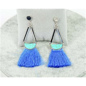1p earrings with nail New Trends Pompon on metal Silver 76108