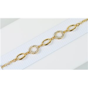 Gold Color metal bracelet set with Rhinestones L19 cm The Best Collection Chic 76012