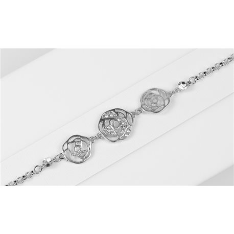 Silver Color metal bracelet set with Rhinestones L19 cm The Best Collection Chic 76017