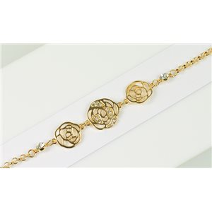 Gold Color metal bracelet set with Rhinestones L19 cm The Best Collection Chic 76018