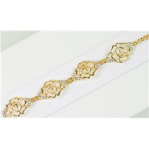 Gold Color metal bracelet set with Rhinestones L19 cm The Best Collection Chic 76020