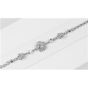 Bracelet métal Silver Color serti de Strass L19 cm The Best Collection Chic 76021