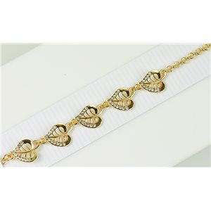 Gold Color metal bracelet set with Rhinestones L19 cm The Best Collection Chic 76024