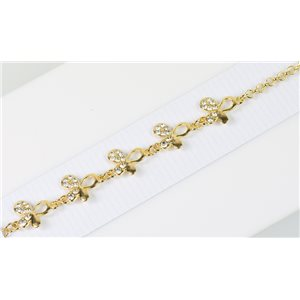 Gold Color metal bracelet set with Rhinestones L19 cm The Best Collection Chic 76028