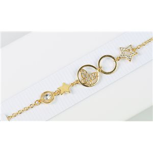 Gold Color metal bracelet set with Rhinestones L19 cm The Best Collection Chic 76032